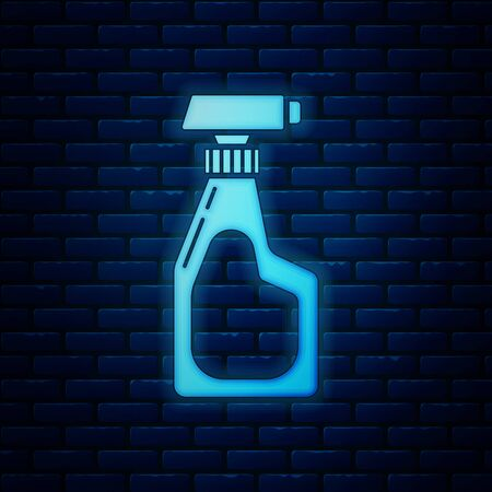 Glowing neon Cleaning spray bottle with detergent liquid icon isolated on brick wall background. Vector Illustration Illustration