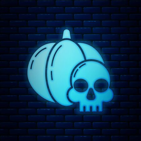 Glowing neon Pumpkin and skull icon isolated on brick wall background. Happy Halloween party. Vector Illustration Illustration