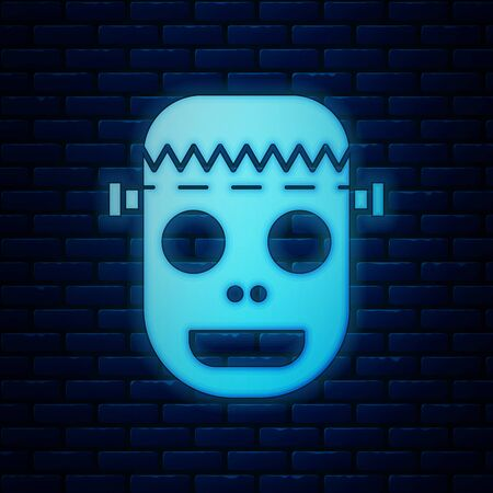 Glowing neon Zombie mask icon isolated on brick wall background. Happy Halloween party. Vector Illustration Çizim