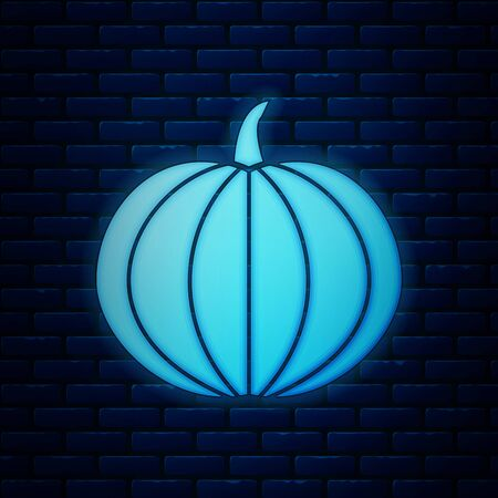 Glowing neon Pumpkin icon isolated on brick wall background. Happy Halloween party. Vector Illustration