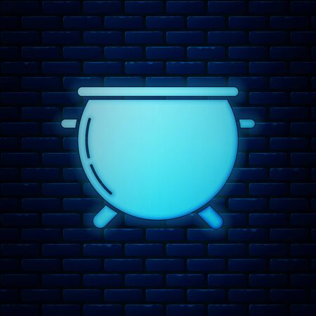 Glowing neon Halloween witch cauldron icon isolated on brick wall background. Happy Halloween party. Vector Illustration