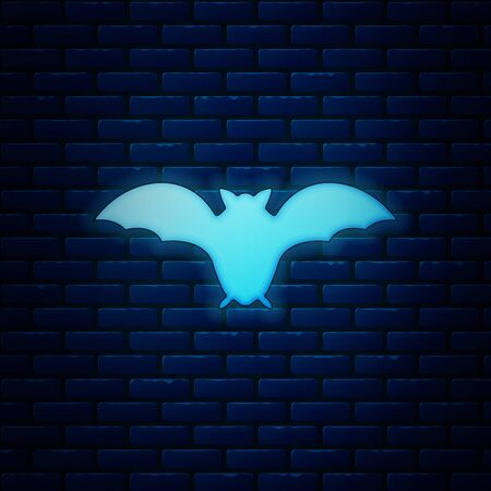 Glowing neon Flying bat icon isolated on brick wall background. Vector Illustration Ilustração