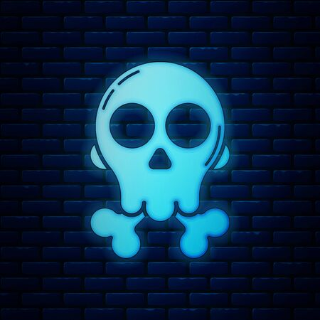 Glowing neon Skull on crossbones icon isolated on brick wall background. Happy Halloween party. Vector Illustration  イラスト・ベクター素材