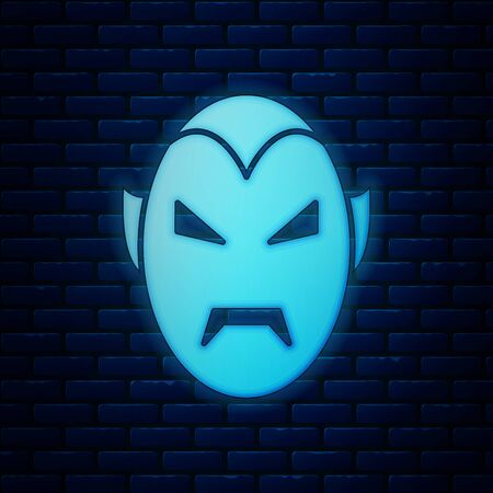 Glowing neon Vampire icon isolated on brick wall background. Happy Halloween party. Vector Illustration Zdjęcie Seryjne - 130818971