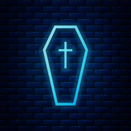 Glowing neon Coffin with christian cross icon isolated on brick wall background. Happy Halloween party. Vector Illustration Çizim
