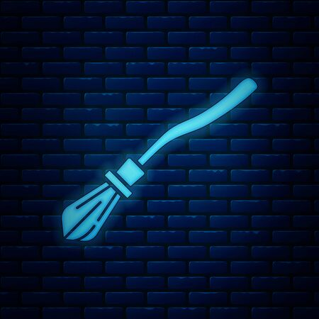 Glowing neon Witches broom icon isolated on brick wall background. Happy Halloween party. Vector Illustration
