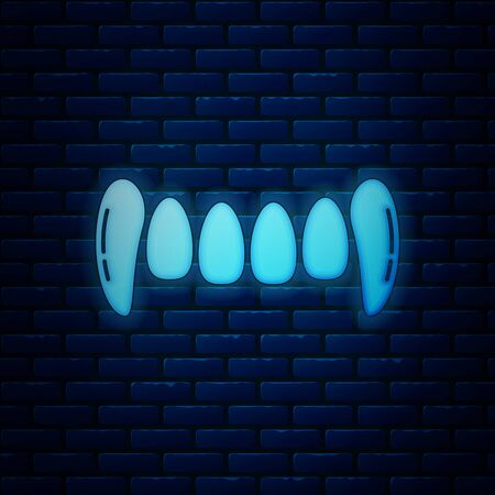 Glowing neon Vampire teeth icon isolated on brick wall background. Happy Halloween party. Vector Illustration