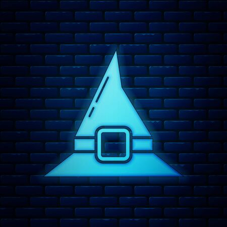 Glowing neon Witch hat icon isolated on brick wall background. Happy Halloween party. Vector Illustration 일러스트