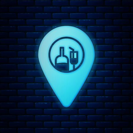 Glowing neon Alcohol or beer bar location icon isolated on brick wall background. Symbol of drinking, pub, club, bar. Vector Illustration Banque d'images - 130818983