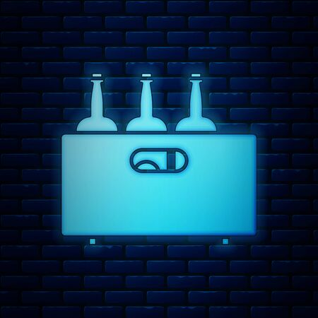 Glowing neon Bottles of wine in a wooden box icon isolated on brick wall background. Wine bottles in a wooden crate icon. Vector Illustration