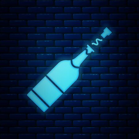 Glowing neon Champagne bottle icon isolated on brick wall background. Vector Illustration Иллюстрация