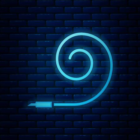 Glowing neon Birthday party horn icon isolated on brick wall background. Vector Illustration Ilustração
