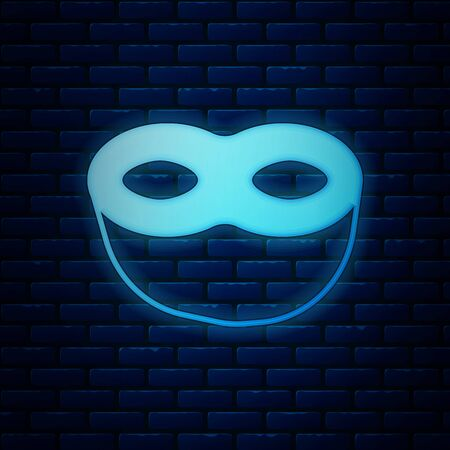 Glowing neon Festive mask icon isolated on brick wall background. Vector Illustration
