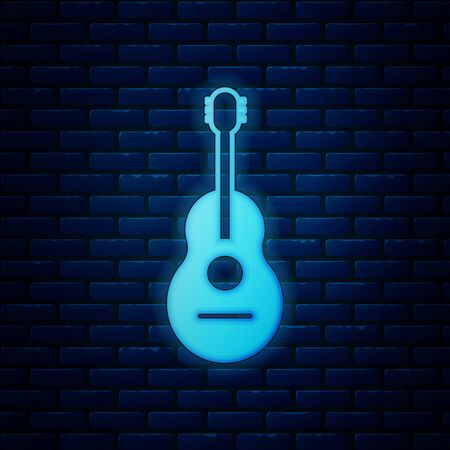 Glowing neon Guitar icon isolated on brick wall background. Acoustic guitar. String musical instrument. Vector Illustration
