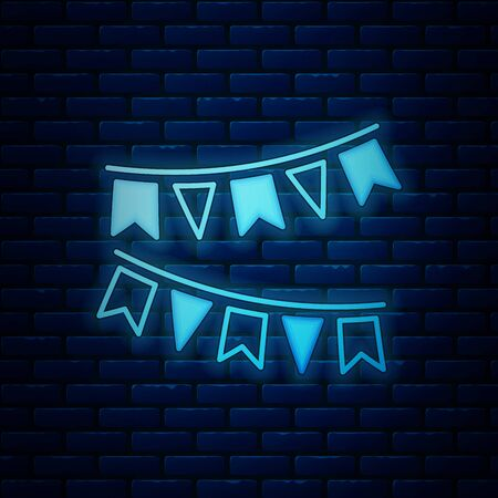 Glowing neon Carnival garland with flags icon isolated on brick wall background. Party pennants for birthday celebration, festival and fair decoration. Vector Illustration