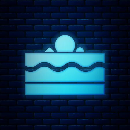 Glowing neon Cake icon isolated on brick wall background. Happy Birthday. Vector Illustration Illustration