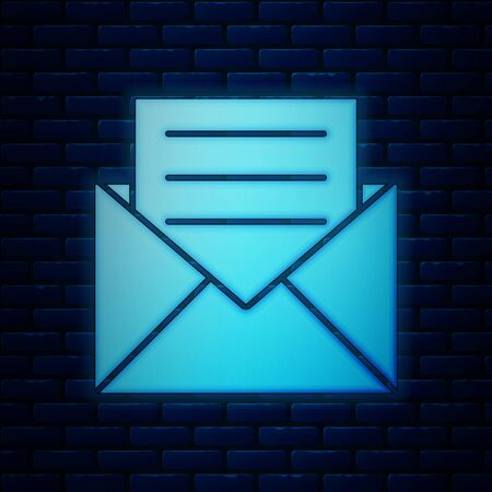 Glowing neon Envelope with invitation card icon isolated on brick wall background. Vector Illustration