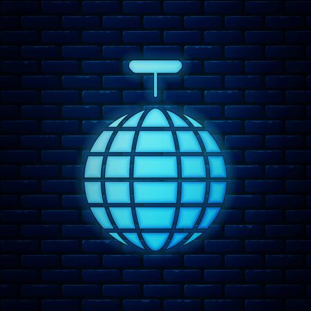Glowing neon Disco ball icon isolated on brick wall background. Vector Illustration  イラスト・ベクター素材