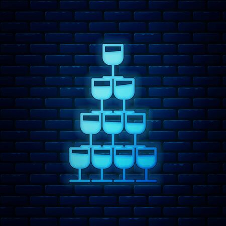 Glowing neon Wine glasses stacked in a pyramid tower icon isolated on brick wall background. Wineglass sign. Vector Illustration Banque d'images - 130818993