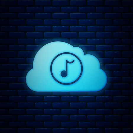 Glowing neon Music streaming service icon isolated on brick wall background. Sound cloud computing, online media streaming, online song, audio wave. Vector Illustration Иллюстрация