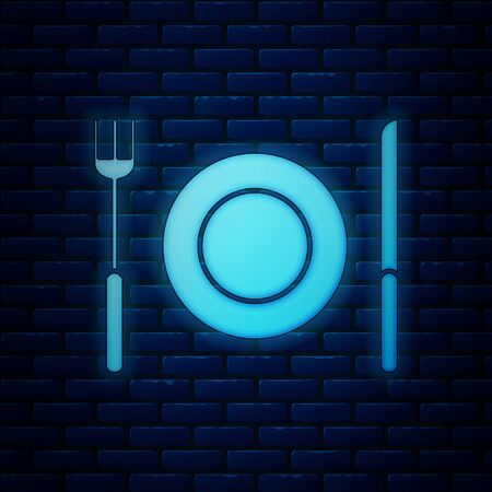 Glowing neon Plate, fork and knife icon isolated on brick wall background. Cutlery symbol. Restaurant sign. Vector Illustration