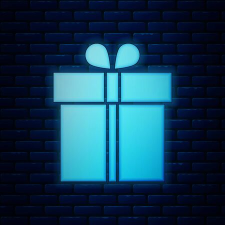 Glowing neon Gift box icon isolated on brick wall background. Vector Illustration Иллюстрация