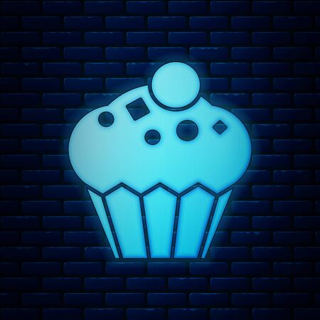 Glowing neon Muffin icon isolated on brick wall background. Vector Illustration