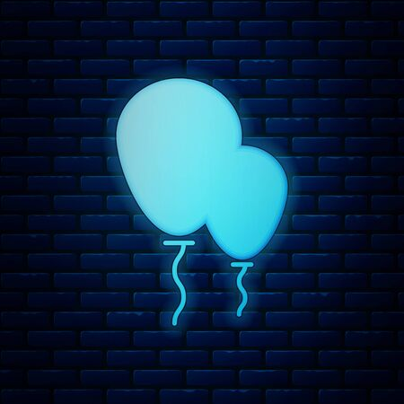 Glowing neon Balloons with ribbon icon isolated on brick wall background. Vector Illustration Illustration