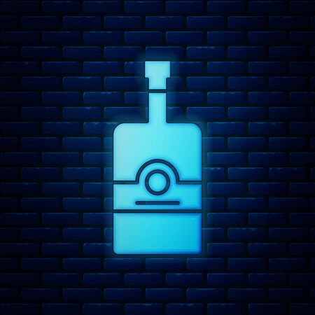 Glowing neon Whiskey bottle icon isolated on brick wall background. Vector Illustration  イラスト・ベクター素材