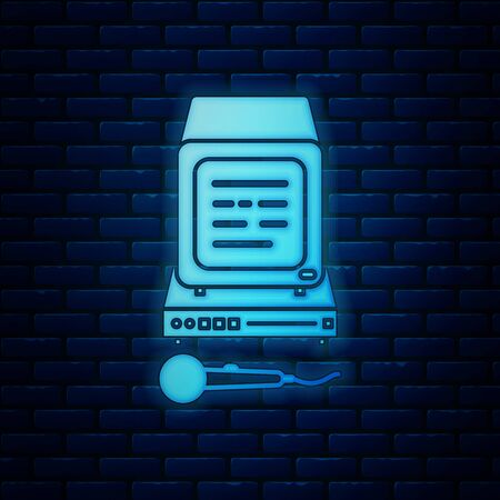 Glowing neon Karaoke icon isolated on brick wall background. Microphone and monitor. Vector Illustration