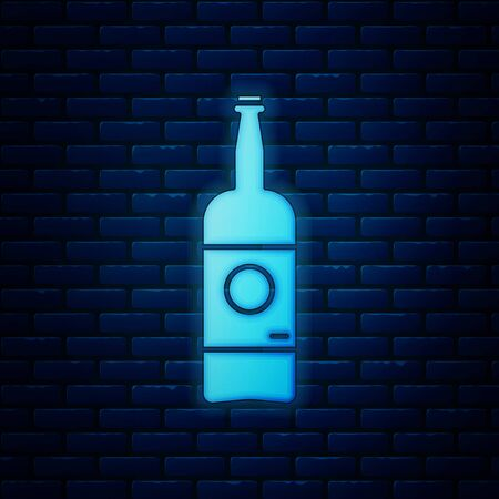 Glowing neon Beer bottle icon isolated on brick wall background. Vector Illustration 版權商用圖片 - 130819010