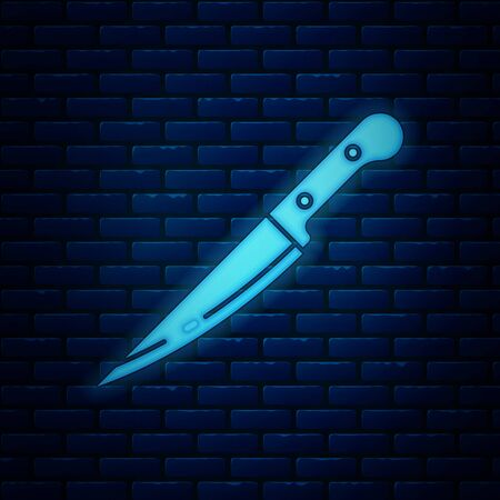 Glowing neon Knife icon isolated on brick wall background. Cutlery symbol. Vector Illustration