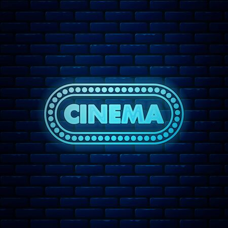 Glowing neon Cinema poster design template icon isolated on brick wall background. Movie time concept banner design. Vector Illustration