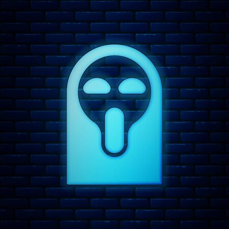 Glowing neon Funny and scary ghost mask for Halloween icon isolated on brick wall background. Happy Halloween party. Vector Illustration