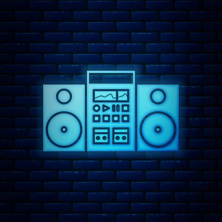 Glowing neon Home stereo with two speakers icon isolated on brick wall background. Music system. Vector Illustration