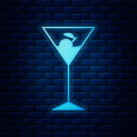 Glowing neon Martini glass icon isolated on brick wall background. Cocktail icon. Wine glass icon. Vector Illustration
