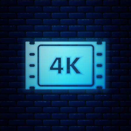 Glowing neon 4k movie, tape, frame icon isolated on brick wall background. Vector Illustration
