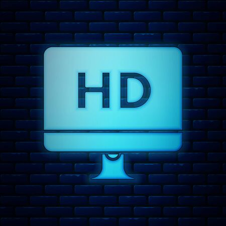 Glowing neon Computer PC monitor display with HD video technology icon isolated on brick wall background. Vector Illustration Иллюстрация