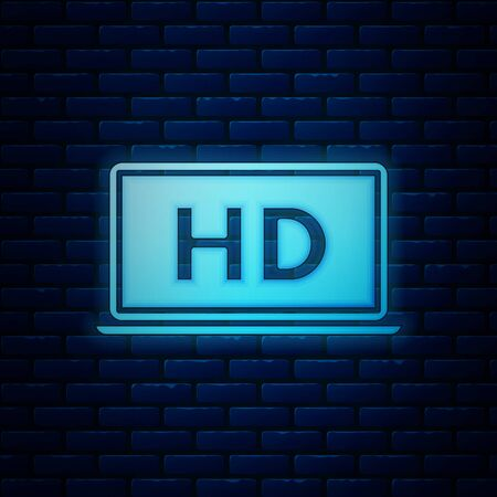 Glowing neon Laptop screen with HD video technology icon isolated on brick wall background. Vector Illustration Ilustração