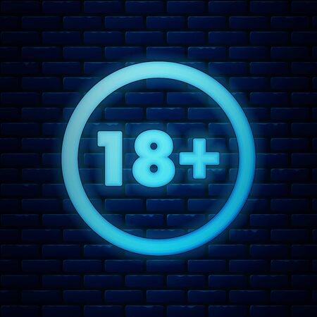 Glowing neon Plus 18 movie icon isolated on brick wall background. Adult content. Under 18 years sign. Vector Illustration