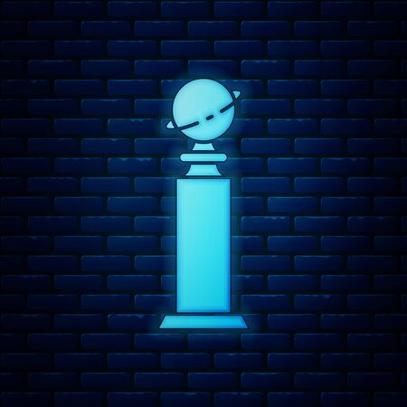Glowing neon Trophy Golden Globe icon isolated on brick wall background. Academy award icon. Films and cinema symbol. Vector Illustration 向量圖像