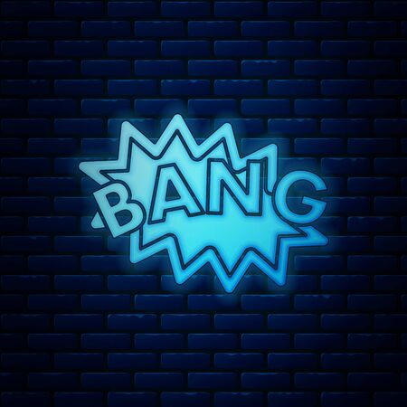 Glowing neon Bang boom, gun Comic text speech bubble balloon icon isolated on brick wall background. Vector Illustration