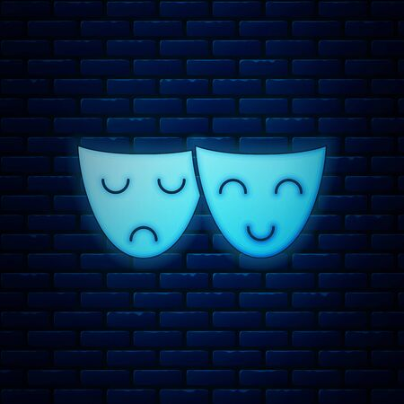 Glowing neon Comedy and tragedy theatrical masks icon isolated on brick wall background. Vector Illustration