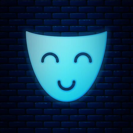 Glowing neon Comedy theatrical mask icon isolated on brick wall background. Vector Illustration Иллюстрация
