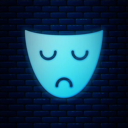 Glowing neon Drama theatrical mask icon isolated on brick wall background. Vector Illustration