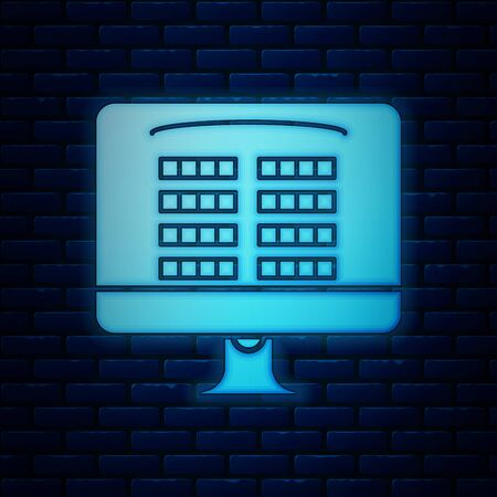 Glowing neon Buy cinema ticket online icon isolated on brick wall background. Service Concept. Vector Illustration