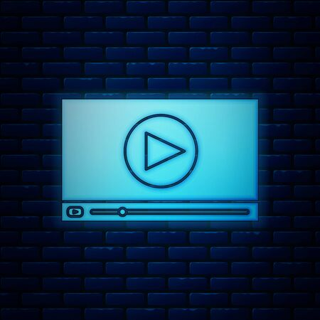 Glowing neon Online play video icon isolated on brick wall background. Film strip with play sign. Vector Illustration 向量圖像