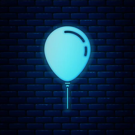 Glowing neon Balloon with ribbon icon isolated on brick wall background. Vector Illustration Иллюстрация
