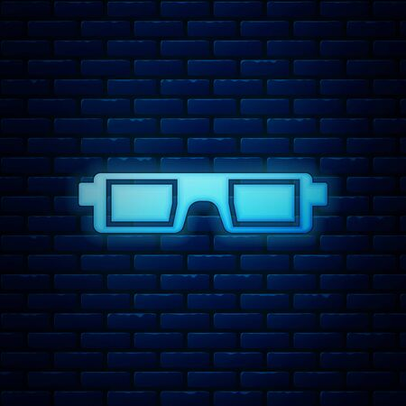 Glowing neon 3D cinema glasses icon isolated on brick wall background. Vector Illustration Illustration