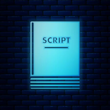 Glowing neon Scenario icon isolated on brick wall background. Script reading concept for art project, films, theaters. Vector Illustration